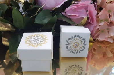 hand finished prints on favour boxes